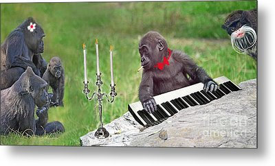Baby Gorilla Concert In The Park Metal Print by Jim Fitzpatrick