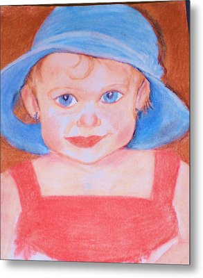 Baby In Blue Hat Metal Print by Christy Saunders Church