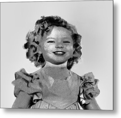 Baby Shirley Temple Sketch Metal Print by Linda Phelps