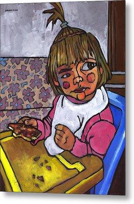 Baby With Pizza Metal Print by Douglas Simonson