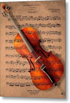 Bach On Cello Metal Print by Sheryl Cox