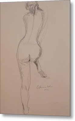 Back Of Nude With Foot Up Metal Print by Esther Newman-Cohen