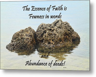 Bahai Quote On Rocks Metal Print by Rudy Umans