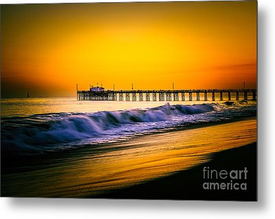 Balboa Pier Picture At Sunset In Orange County California Metal Print by Paul Velgos