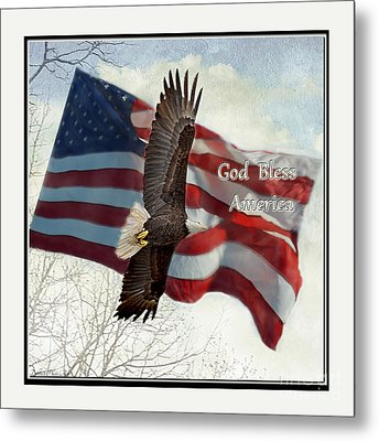 Bald Eagle  God Bless America Metal Print by Debbie Portwood