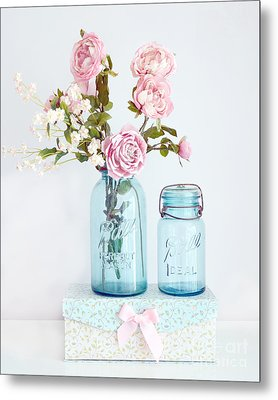 Roses In Ball Jars Aqua Dreamy Shabby Chic Floral Cottage Chic Pink Roses In Vintage Blue Ball Jars  Metal Print by Kathy Fornal