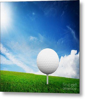 Ball On Tee On Green Golf Field Metal Print by Michal Bednarek