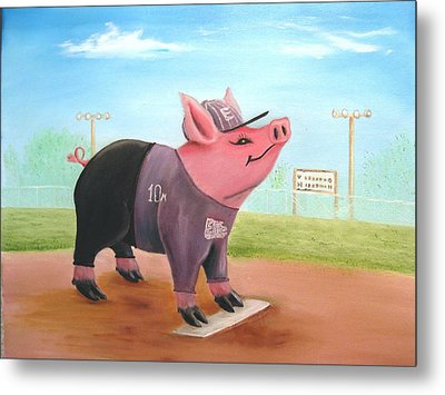 Ball Pig With Attitude Metal Print by Bobby Perkins