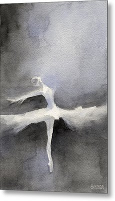 Ballet Dancer In White Tutu Watercolor Paintings Of Dance Metal Print by Beverly Brown Prints
