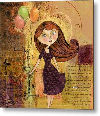 Balloon Girl Metal Print by Karyn Lewis Bonfiglio