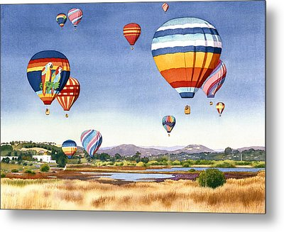 Balloons Over San Elijo Lagoon Encinitas Metal Print by Mary Helmreich