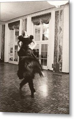 Ballroom Dancers Lift - Sepia Photograph Metal Print by Beverly Brown Prints