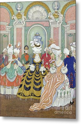 Ballroom Scene Metal Print by Georges Barbier