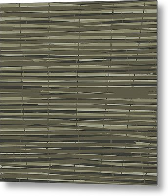 Bamboo Fence - Gray And Beige Metal Print by Saya Studios