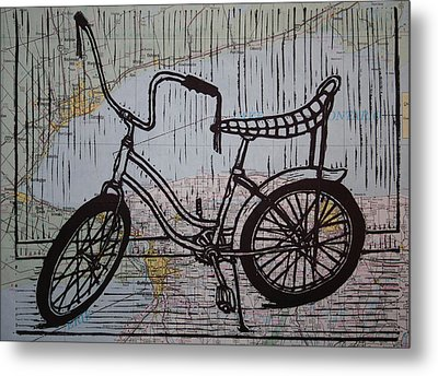 Banana Seat On Map Metal Print by William Cauthern