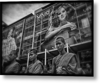 Bangkok Mall Monks Metal Print by David Longstreath