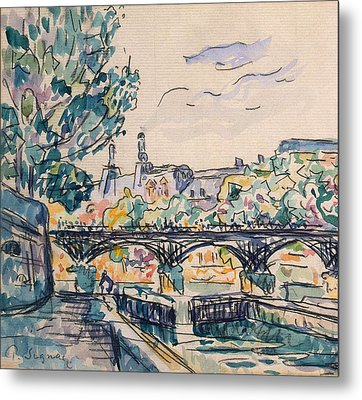 Bank Of The Seine Near The Pont Des Arts Metal Print by Paul Signac