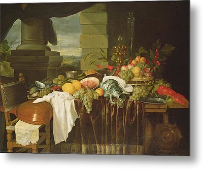 Banquet Still Life Oil On Canvas Metal Print by Andries Benedetti