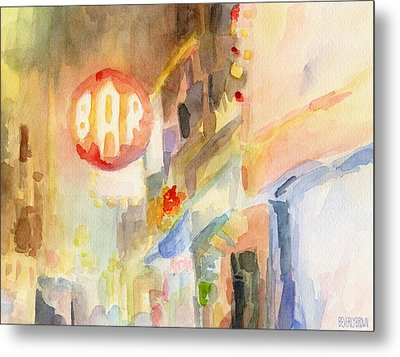 Bar 8th Avenue Watercolor Painting Of New York Metal Print by Beverly Brown Prints