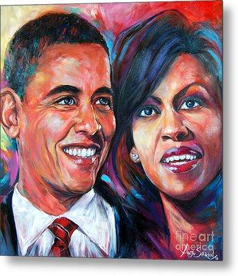 Barack And Michelle Obama Metal Print by Anju Saran