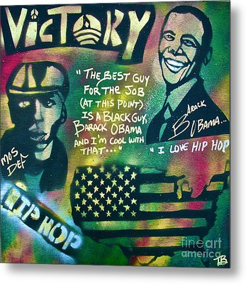 Barack And Mos Def Metal Print by Tony B Conscious