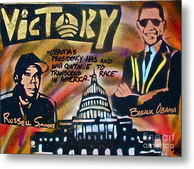 Barack And Russell Simmons Metal Print by Tony B Conscious