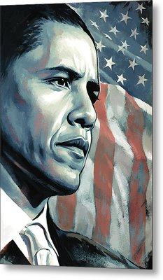 Barack Obama Artwork 2 B Metal Print by Sheraz A