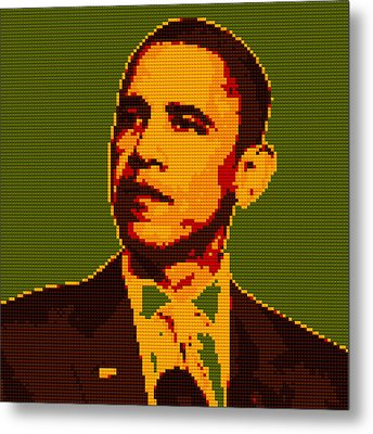 Barack Obama Lego Digital Painting Metal Print by Georgeta Blanaru