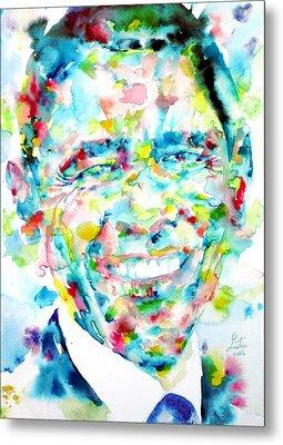 Barack Obama - Watercolor Portrait Metal Print by Fabrizio Cassetta