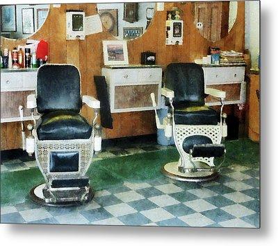 Barber - Corner Barber Shop Two Chairs Metal Print by Susan Savad