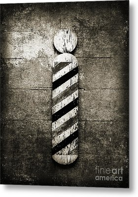 Barber Pole Black And White Metal Print by Andee Design