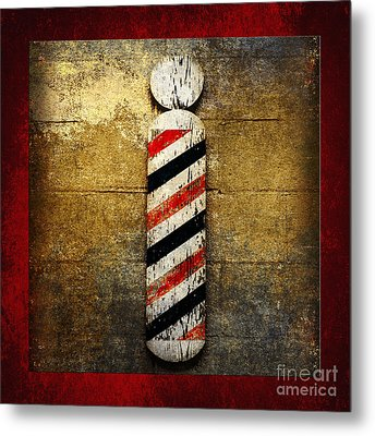 Barber Pole Square Metal Print by Andee Design