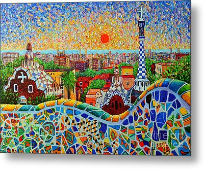 Barcelona View At Sunrise - Park Guell  Of Gaudi Metal Print by Ana Maria Edulescu