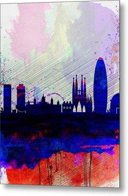 Barcelona Watercolor Skyline 2 Metal Print by Naxart Studio