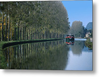 Barge On Burgandy Canal Metal Print by Carl Purcell