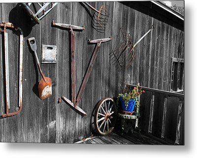 Barn Art No.3 - Color On Black And White Metal Print by Janice Adomeit