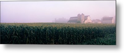 Barn In A Field, Illinois, Usa Metal Print by Panoramic Images