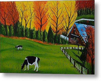 Barn Of Autumn 2 Metal Print by Portland Art Creations
