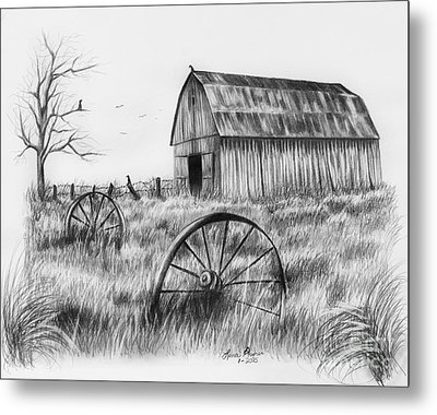 Barn With Crows Metal Print by Lena Auxier