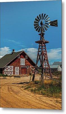 Barn With Windmill Metal Print by Paul Freidlund