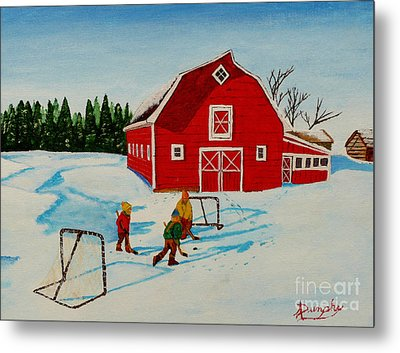 Barn Yard Hockey Metal Print by Anthony Dunphy