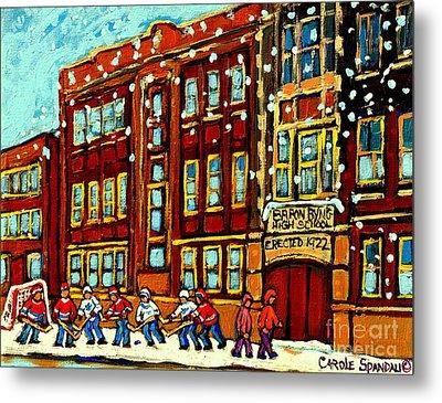 Baron Byng High School St Urbain Street Hockey Montreal Winter Scene Carole Spandau Montreal Artist Metal Print by Carole Spandau