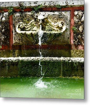Baroque Coral Fountain At Vizcaya Estate Museum In Miami Florida Square Format Diffuse Glow Digital Metal Print by Shawn O'Brien