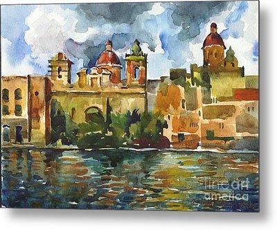 Baroque Domes And Baroque Skies Of Vittoriosa In Malta Metal Print by Anna Lobovikov-Katz