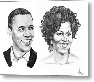 Barrack And Michelle Obama Metal Print by Murphy Elliott