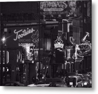 Bars On Broadway Nashville Metal Print by Dan Sproul