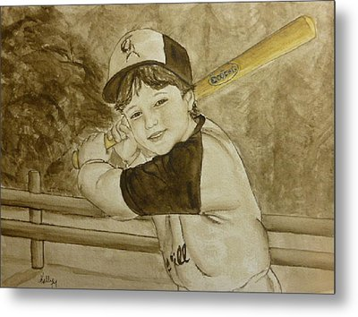 Baseball At It's Best Metal Print by Kelly Mills