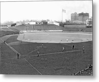 Baseball At Yankee Stadium Metal Print by Underwood Archives
