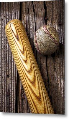Baseball Bat And Ball Metal Print by Garry Gay