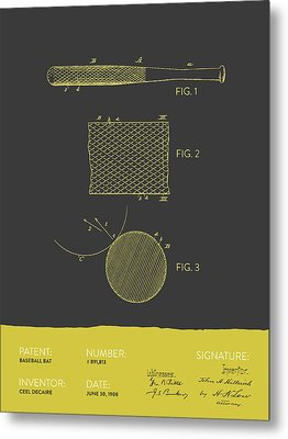 Baseball Bat Patent From 1908 - Gray Yellow Metal Print by Aged Pixel